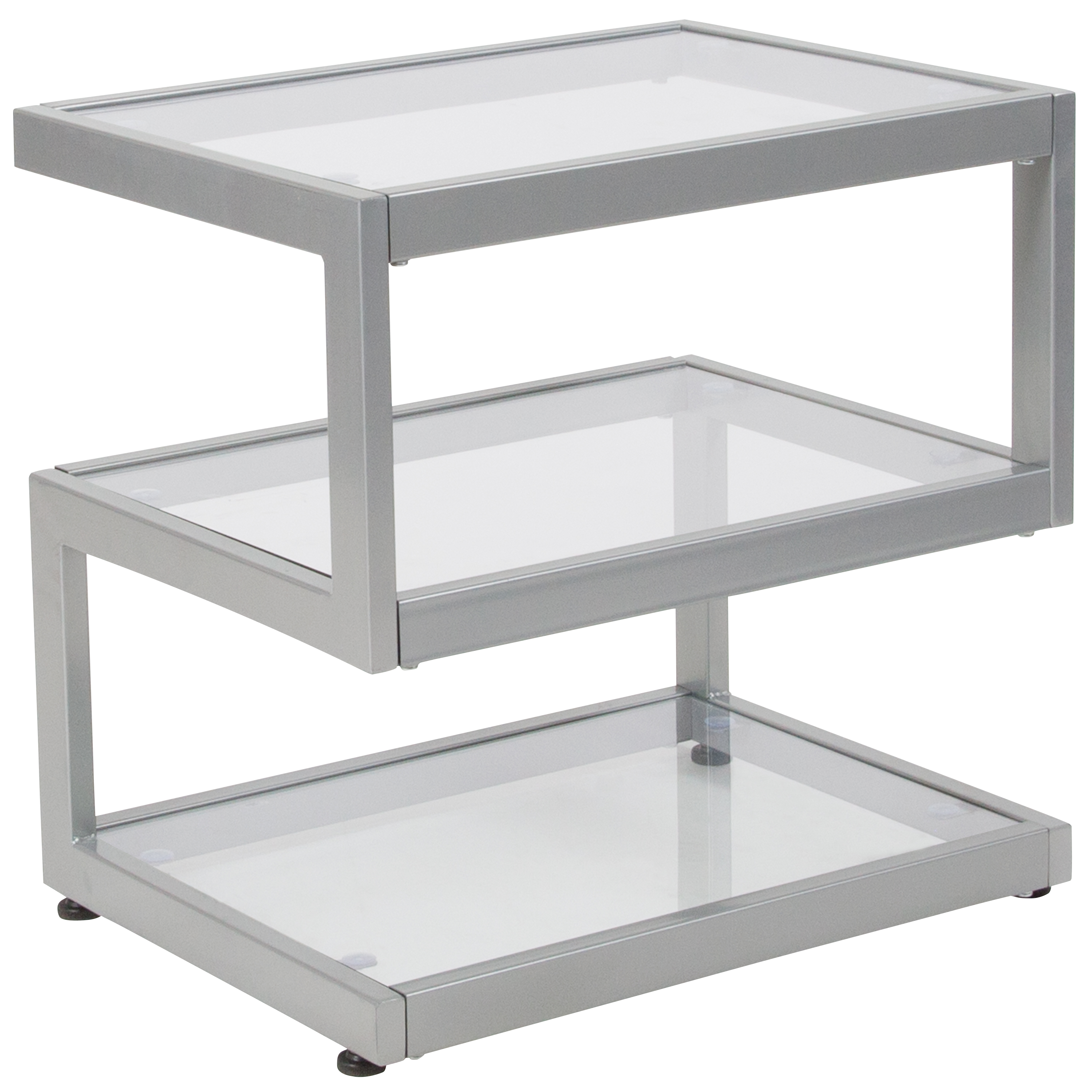 Flash Furniture Ashmont Collection Glass End Table with Contemporary Steel Design