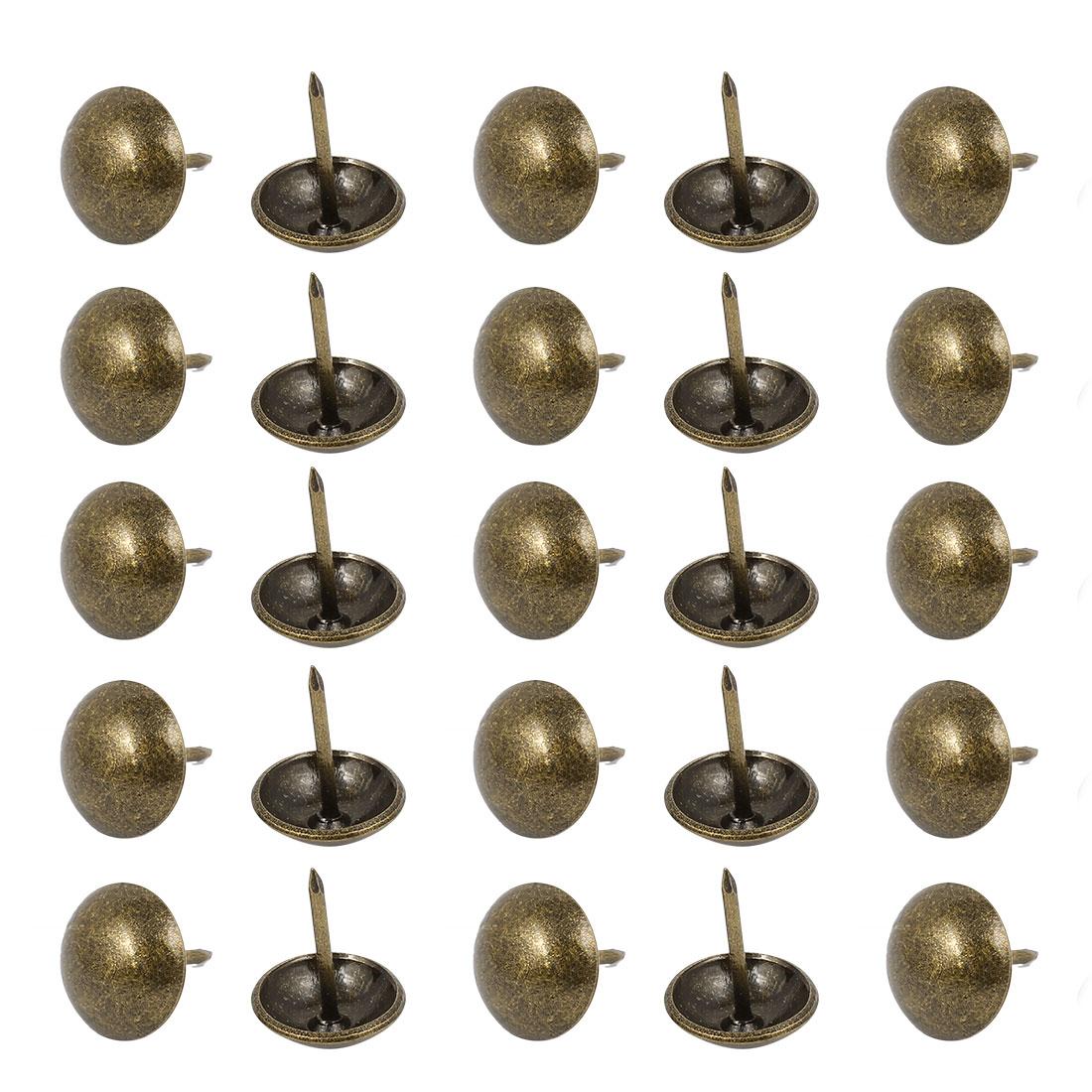 14mm Dia Metal Upholstery Nail Tack Stud Push Pin Doornail Bronze Tone 25PCS