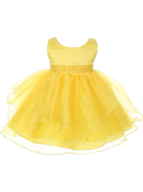 Chic Baby Girls Yellow Organza Embellished Waist Flower Girl Dress