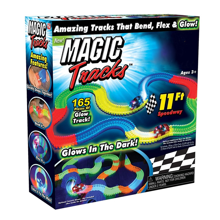 Magic Track Glow In The Dark Set Bend, Flex, And Curve Racetrack With Led Light Up Car Toy For Kids