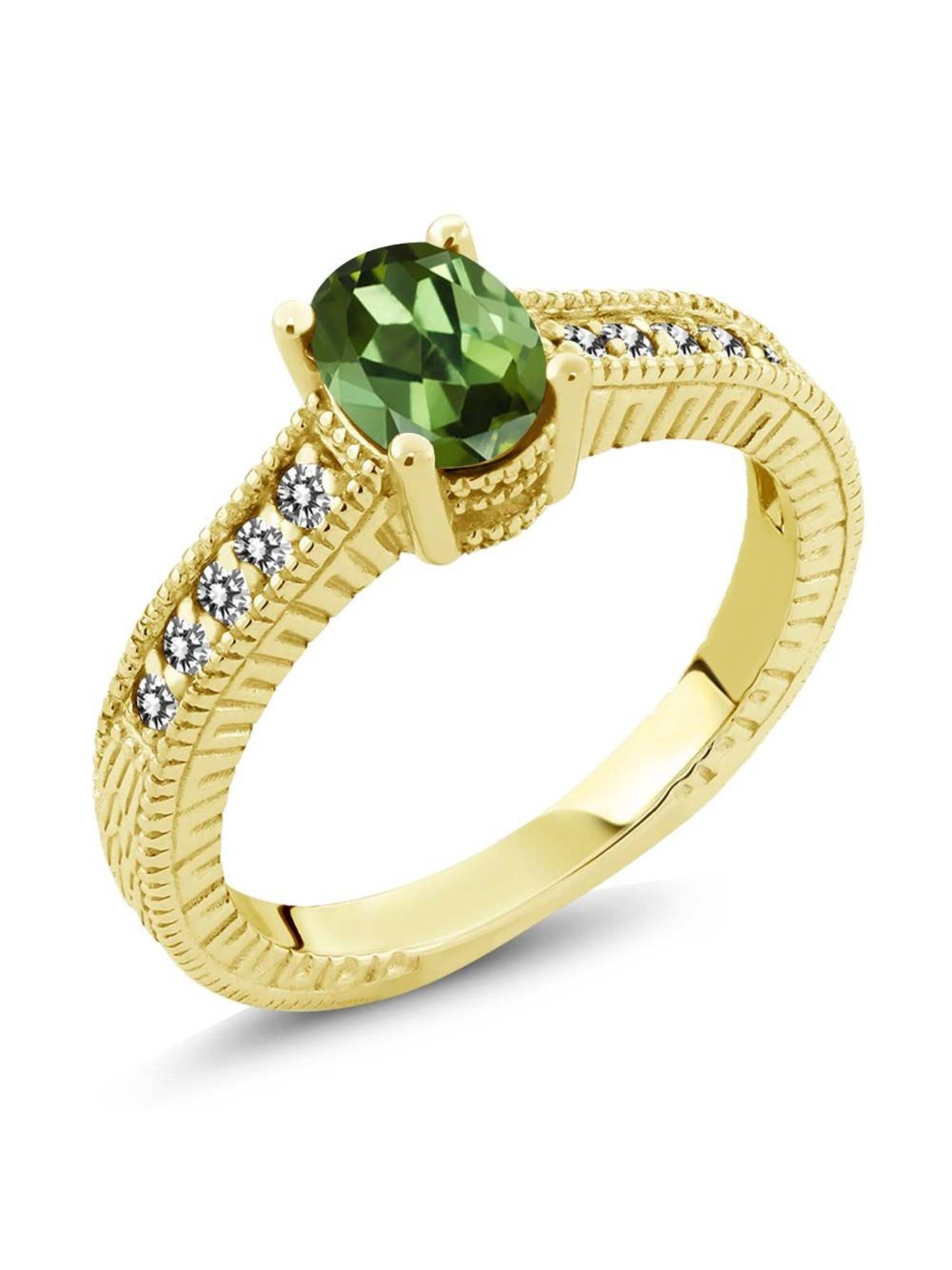 1.18 Ct Oval Green Tourmaline White Diamond 18K Yellow Gold Plated Silver Ring by