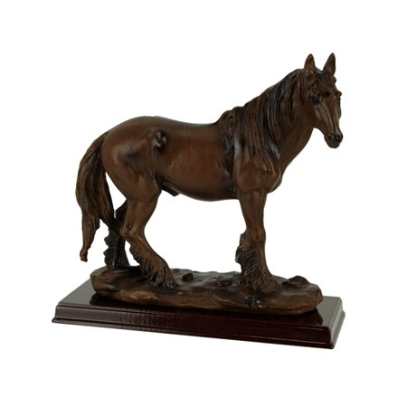 Brown Feathered Foot Standing Horse Statue On Wood Base (Horse Statue)