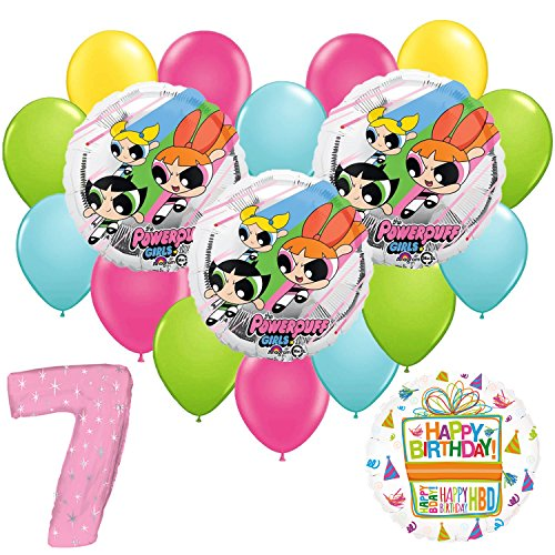 Powerpuff Girls 7th Birthday Party Balloon Supplies and Decorations