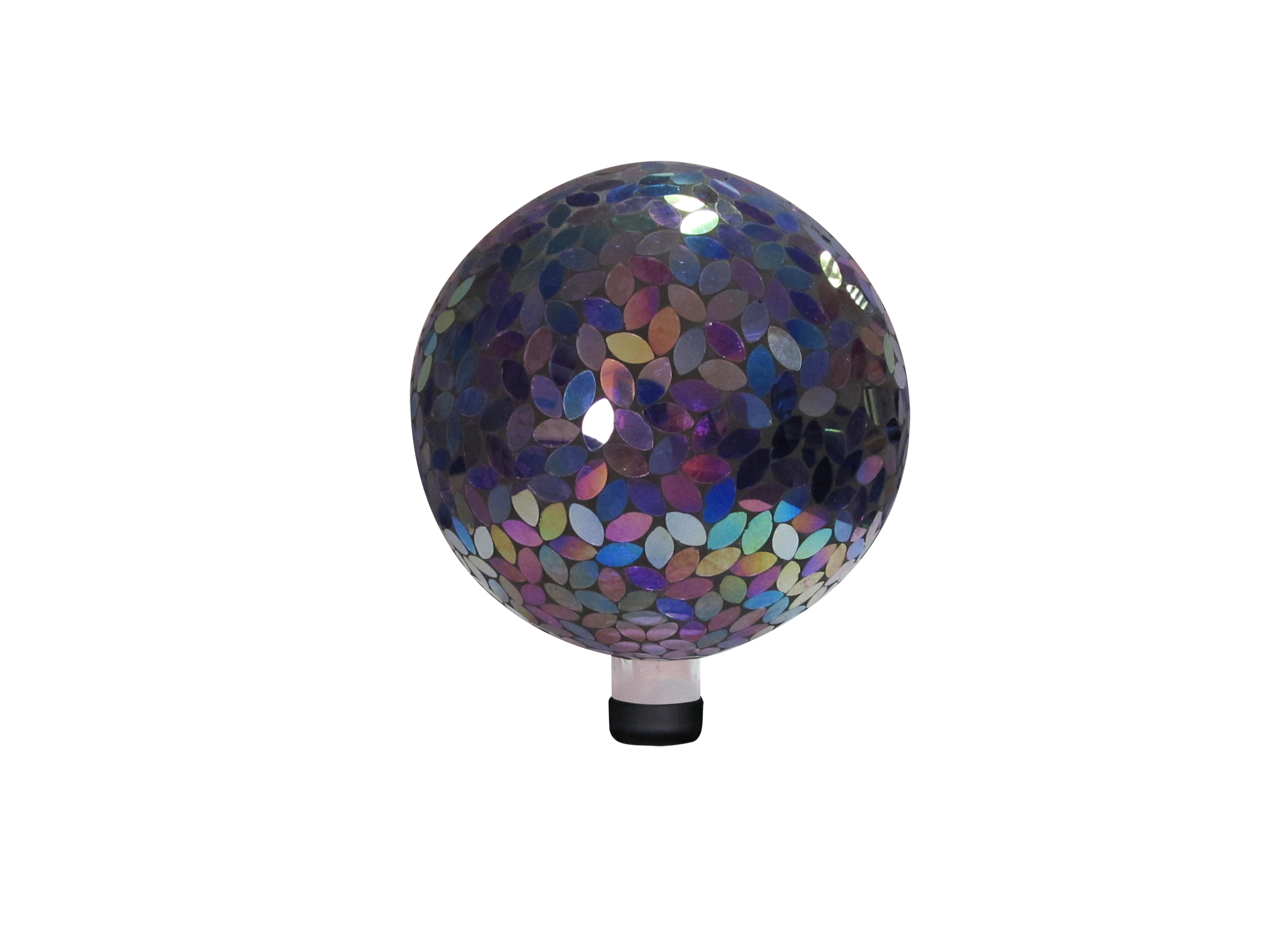 10 Inch Mosaic Gazing Ball Purple by Benzara