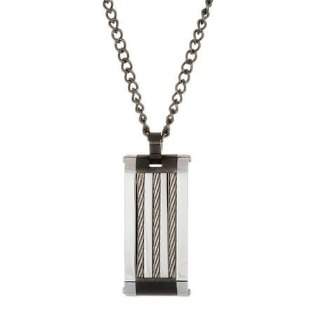 Tone Rectangle Pendant - Reinforcements Men's Polished Two Tone Stripe Design Rectangle Pendant 20