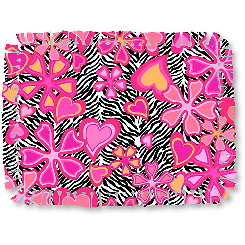 Creative Cuts Microfiber No Sew Throw Fabric Kit, Zebra with Hearts/Flowers