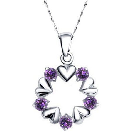 Designer Inspired Open Circle Heart and Purple CZ