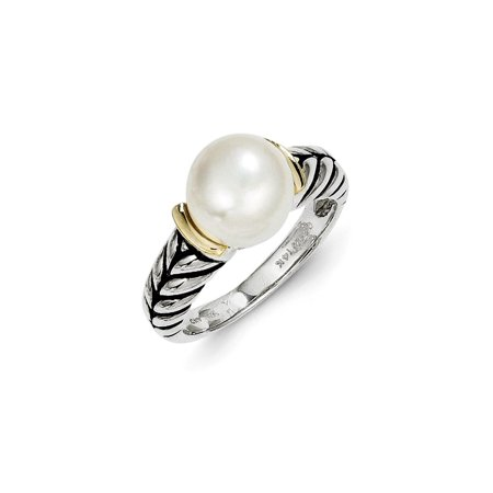 10 Mm Pearl Ring - ICE CARATS 925 Sterling Silver 14kt 10mm Button Freshwater Cultured Pearl Band Ring Size 8.00 Fine Jewelry Ideal Gifts For Women Gift Set From Heart