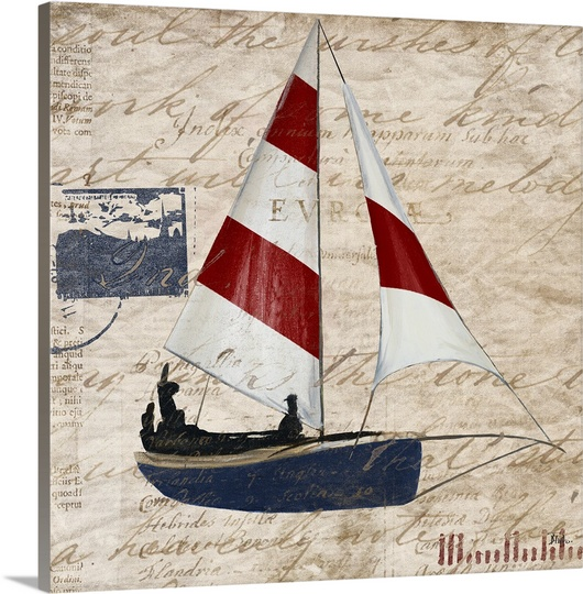 Great BIG Canvas   Patricia Pinto Premium Thick-Wrap Canvas entitled Sailing Stamp Border I
