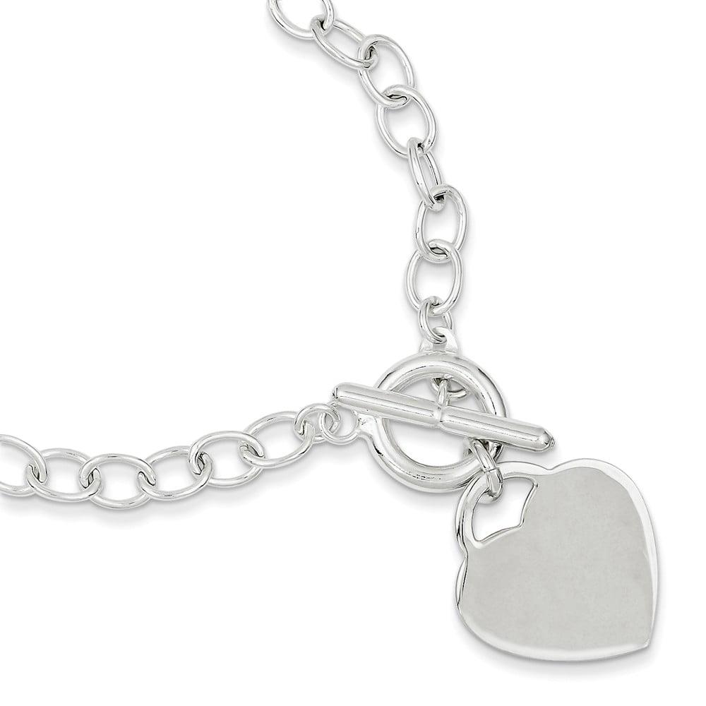 Sterling Silver 8.5in Engraveable Oval Link Heart Bracelet