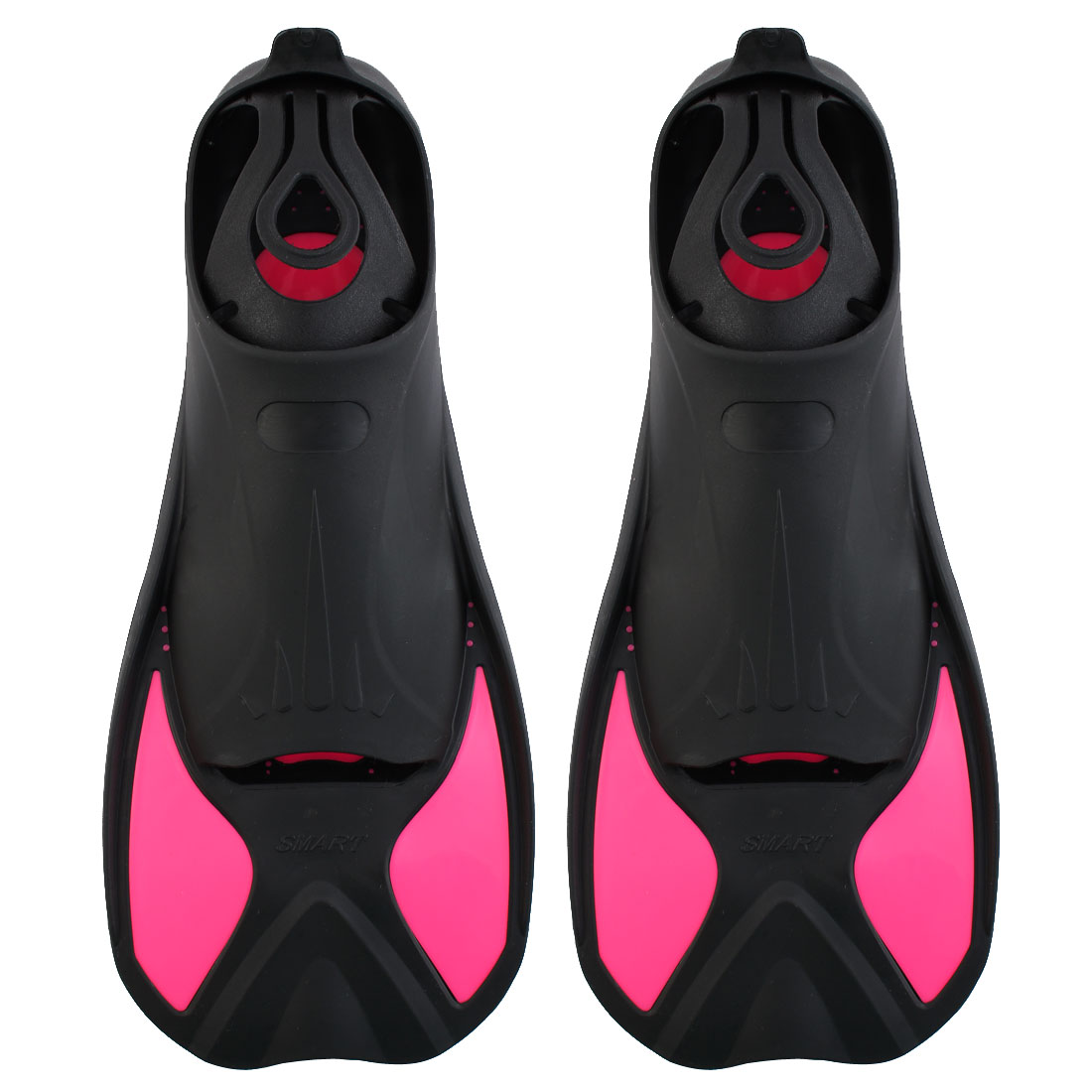 Swim Diving Training Snorkel Floating Short Fins Flippers Fuchsia Size L Pair