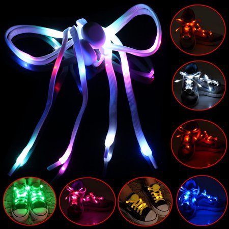 LED Shoelaces Shoe Laces 3 Mode Flash Light Up Glow Stick Shoestring Disco Hip-hop Skating Night Running,Red - Flashing Shoelaces