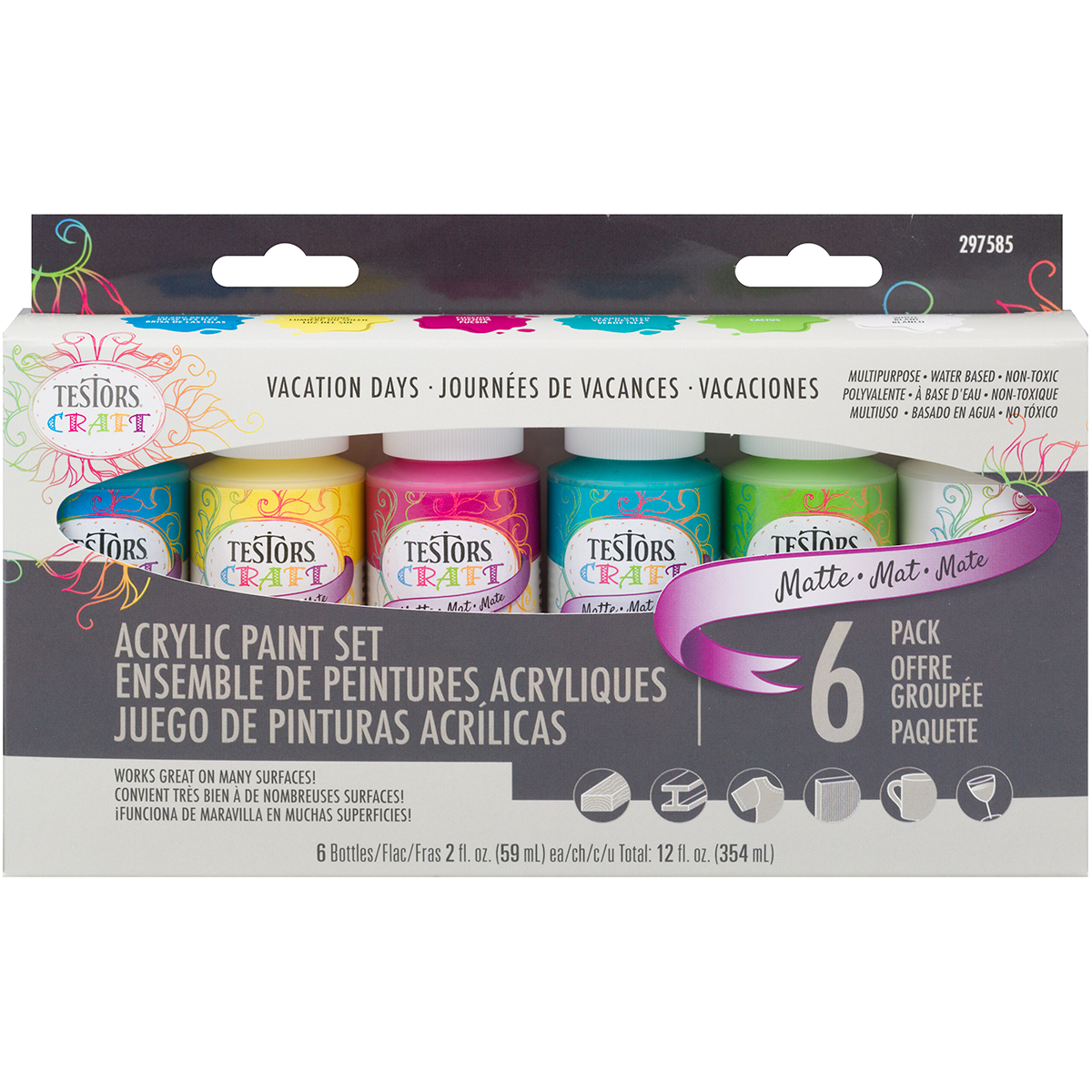 Testors Craft Acrylic Paint, Matte, 6-Pack