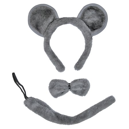 SeasonsTrading Gray Mouse Ears, Tail, & Bow Tie Costume Set (Halloween Costumes Dog Ears And Tail)