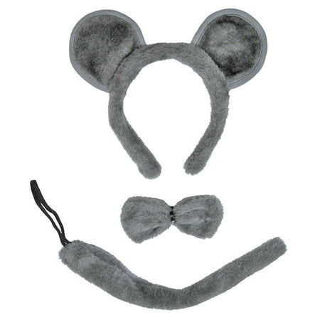 SeasonsTrading Gray Mouse Ears, Tail, & Bow Tie Costume Set](Costume Ties)
