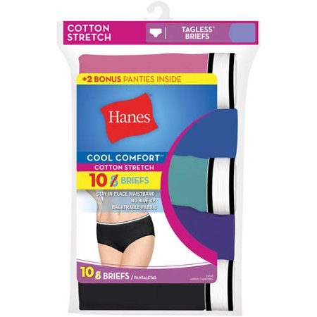 Hanes Womens cool comfort cotton stretch briefs - 8+2 bonus pack, colors may vary