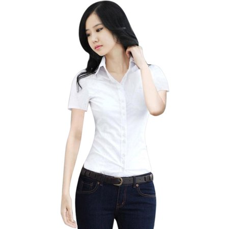 OUMY Women Button Down Collar Blouse Tops OL (Bowler Button Down Shirt)