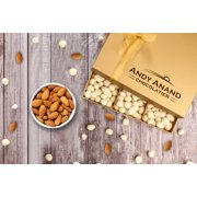 Andy Anand Premium Belgian White Chocolate Almonds in Gift Basket, Gourmet Christmas Holiday Corporate Food Gifts with Greeting Card, Valentines,Anniversary, Birthday Free Air Shipping 1lbs