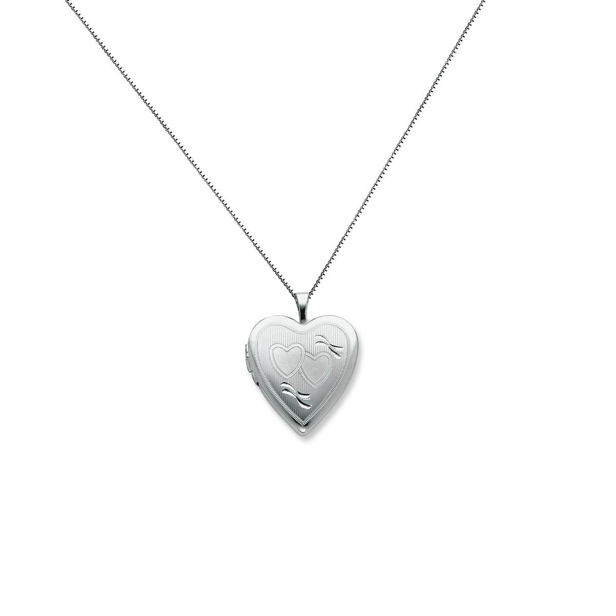 Sterling Silver 20mm Double Hearts Heart Locket