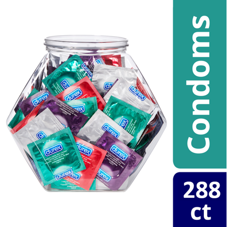 (2 Pack) 144 Count Durex Condom Fish Bowl Natural Latex Condoms, - An assortment of Ultra Fine Condoms (Duraxt Clip)