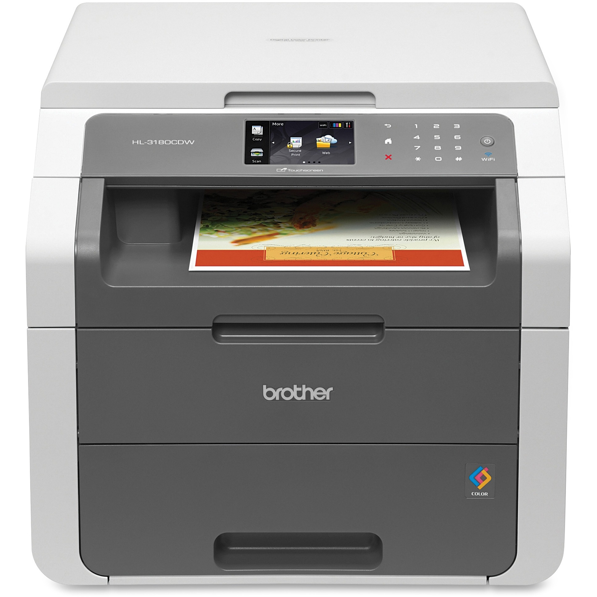 Brother HL-3180CDW Wireless Color All-In-One Laser Printer White/Gray