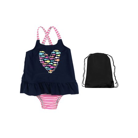Kiko & Max Baby Girls Sun Protection Favorite One Piece Swimsuit and Swim Bag 18 Months Navy Blue and White Stripe with Pink Bow | Best 1 Piece Bathing Suite For