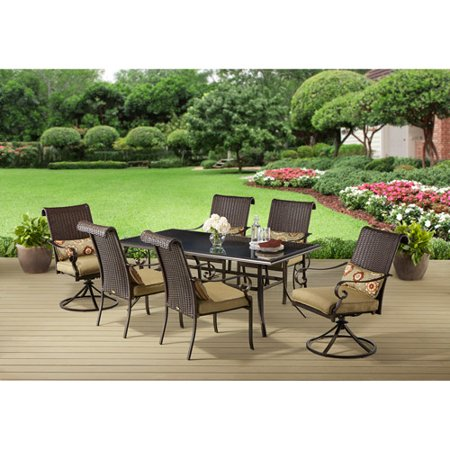 Better homes and gardens riverwood 7 piece patio dining set seats 6 7 better homes and gardens