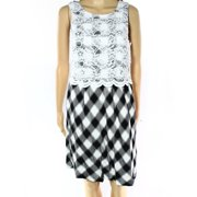 Kensie NEW Black White Women XS Plaid Floral Lace Overlay Sheath Dress