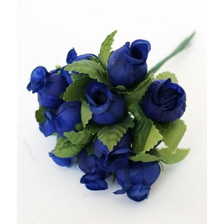 144 Poly Rose Silk Favor Flower Pick Wedding Shower - Royal Blue