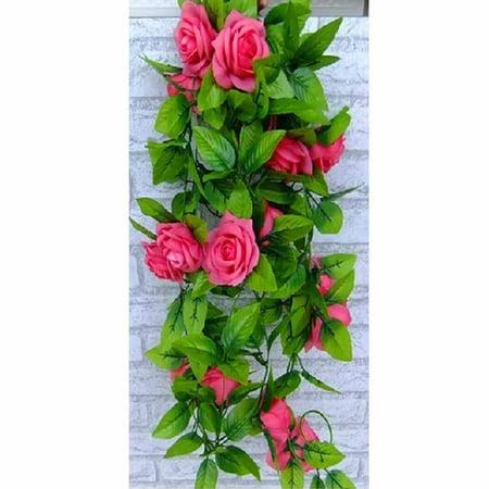 2.6M Silk Flower Garland Artificial Vine Ivy Home Wedding Garden Floral Decor Peach -