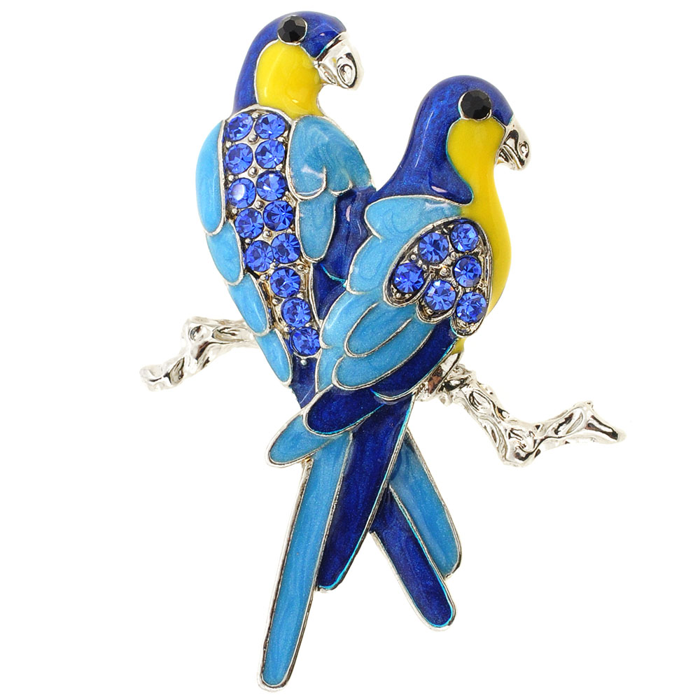 Sapphire Blue Couple Parrot Bird Crystal Pin Brooch by