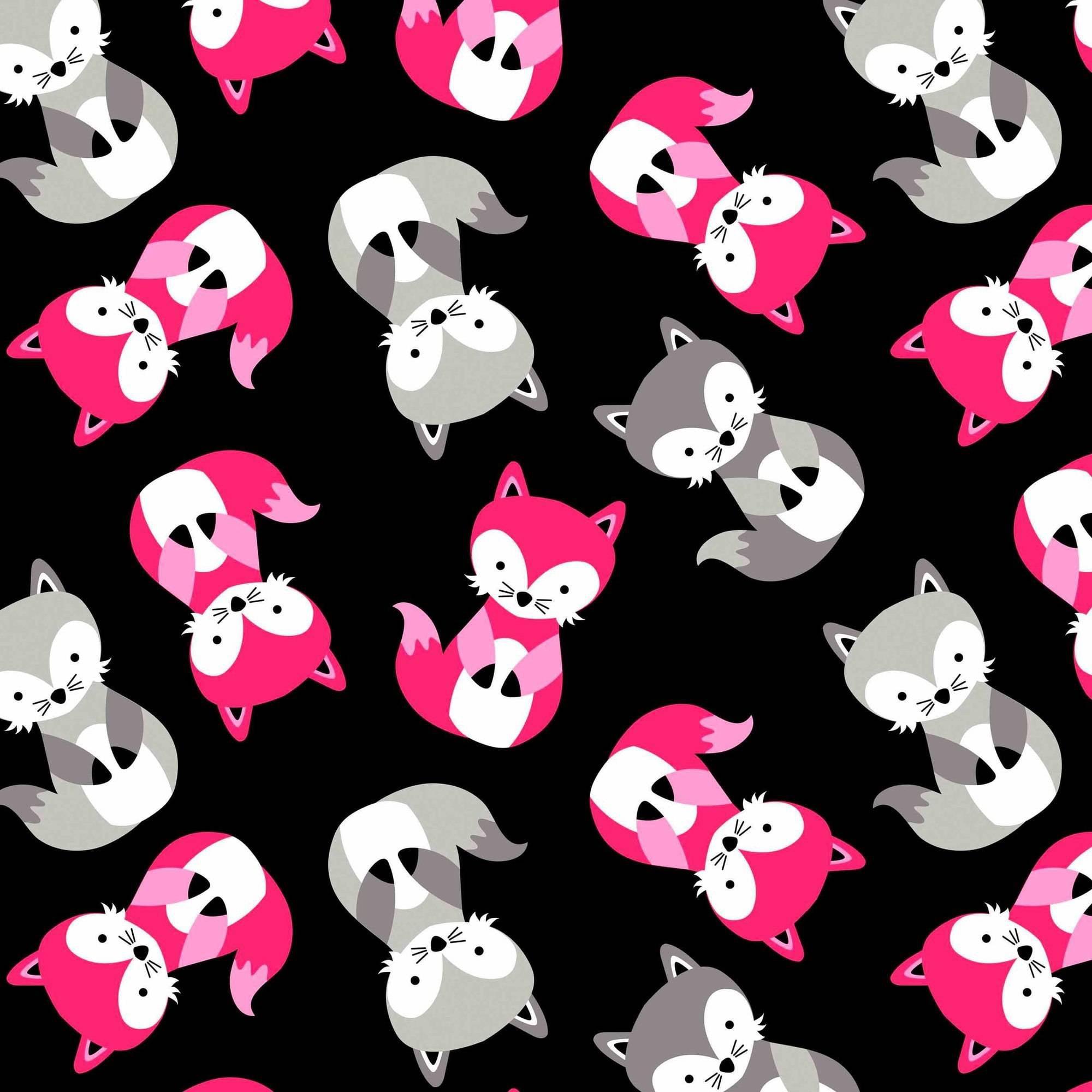 "David Textiles Ultra Soft 60"" ""Heavenly Plush"" Friendly Fox Black Fabric, per Yard"