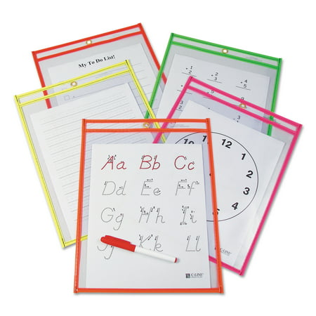 C-Line Reusable Dry Erase Pockets, 9 x 12, Assorted Neon Colors, 10/Pack -CLI40810](Dry Erase Pockets)