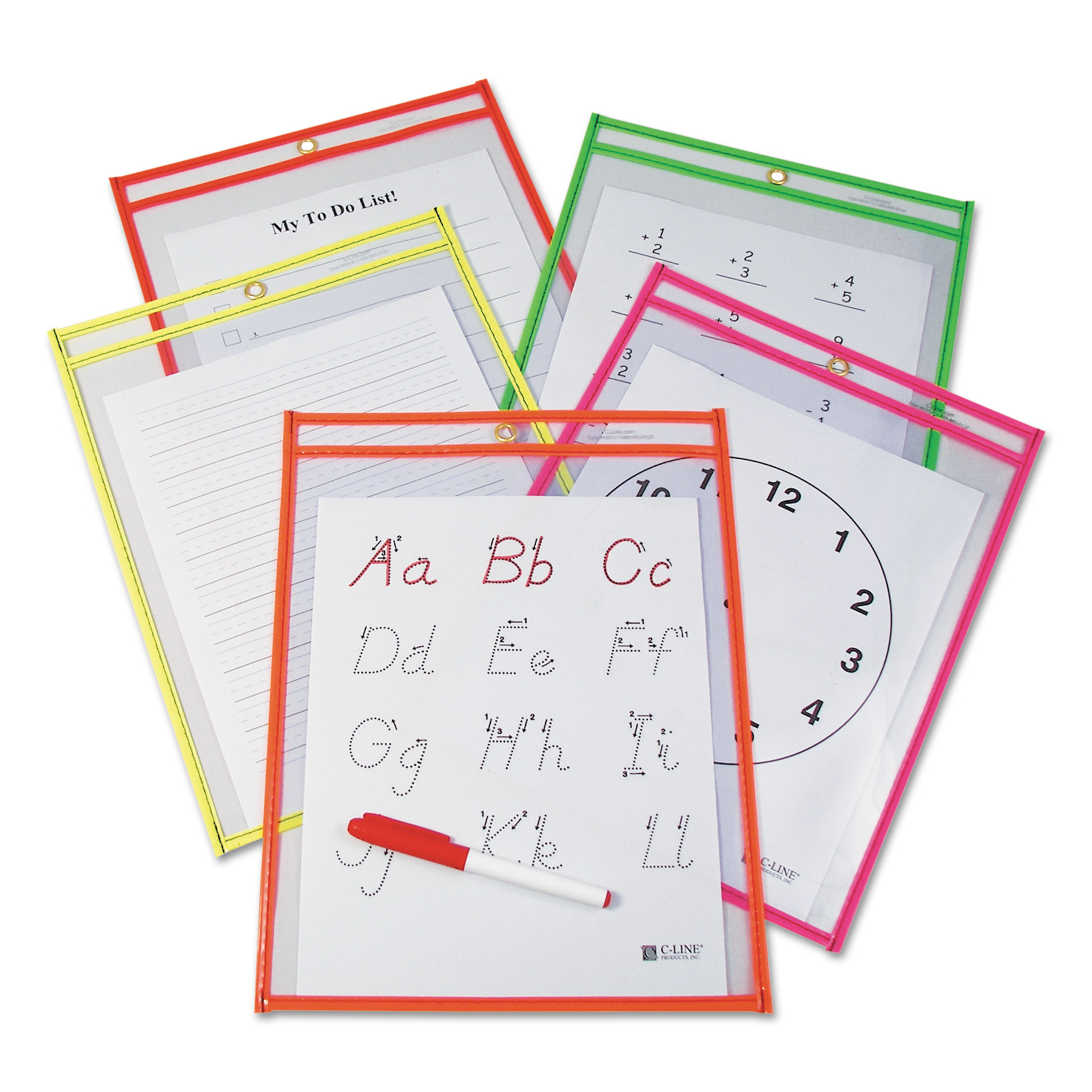 C-Line Reusable Dry Erase Pockets, 9 x 12, Assorted Neon Colors, 10/Pack -CLI40810