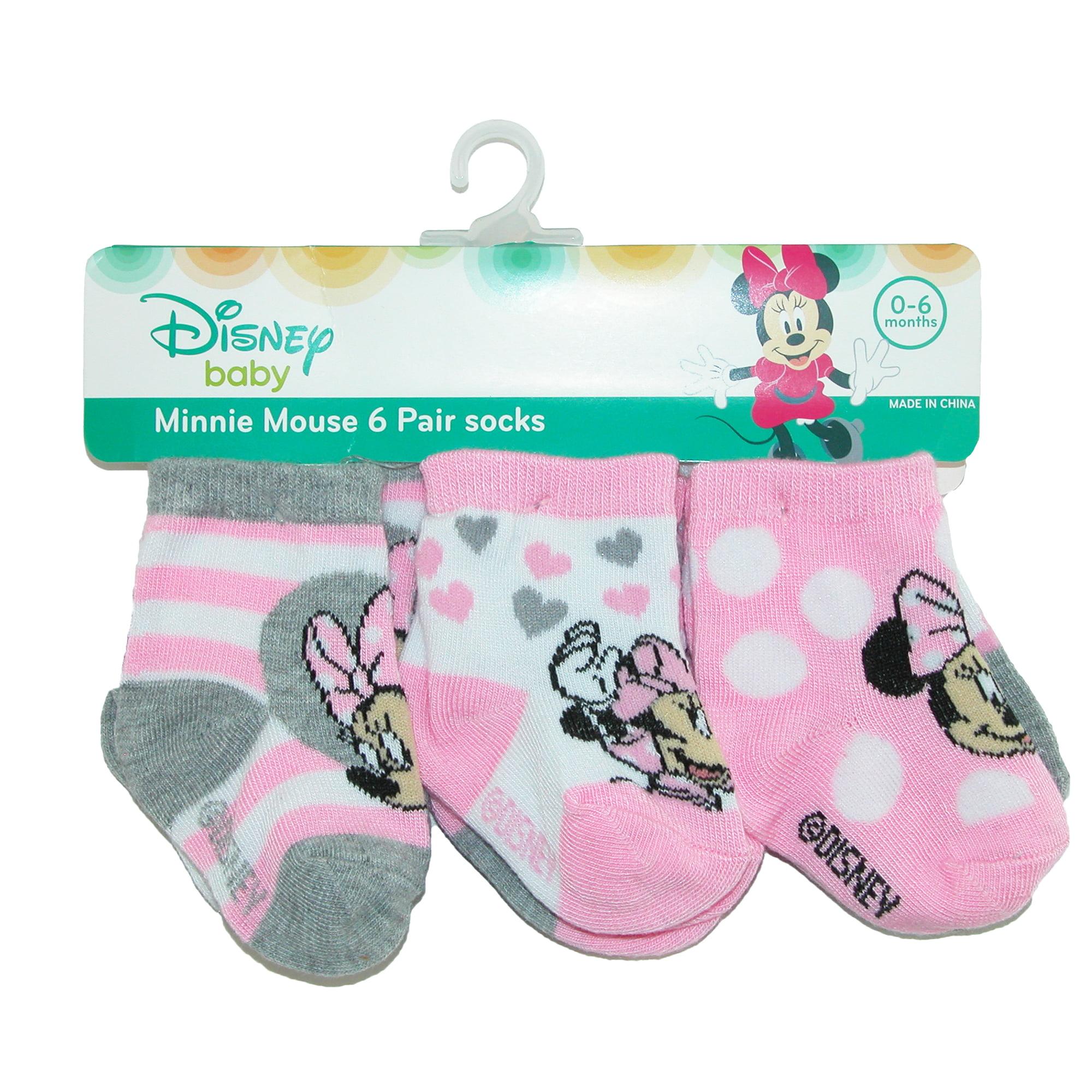 Mickey Mouse 6-12 Mths Disney Minnie 2 Pairs Baby Socks 0-6 Mths