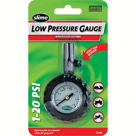 Slime Low Dial Gauge with Bleeder Valve, 1-20 PSI