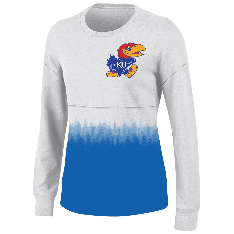 Women's White Kansas Jayhawks Oversized Fan Long Sleeve T-Shirt