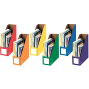 """Fellowes Banker's Box 4"""" Magazine File, Corrugated Cardboard Assorted Colors, 6 pack"""