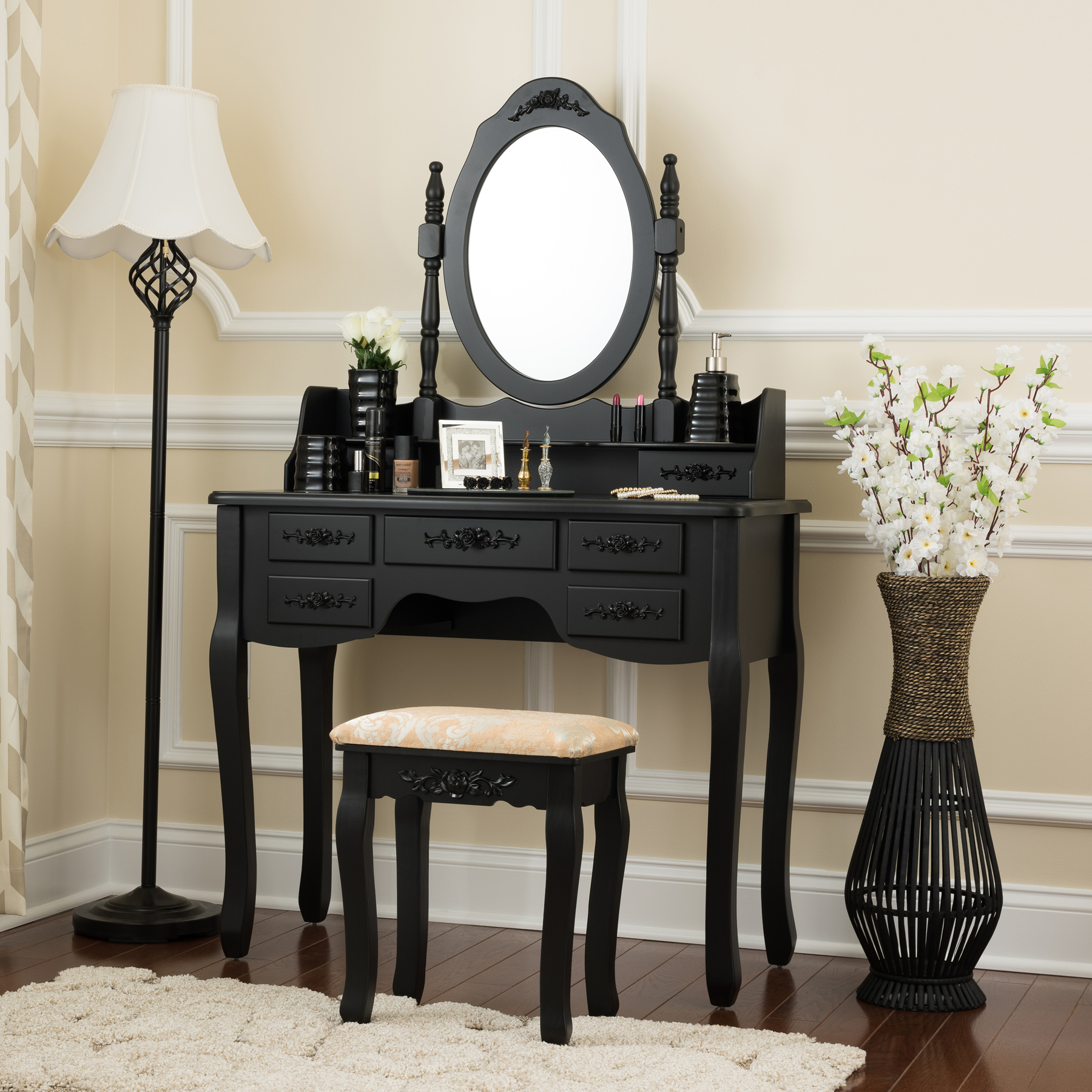Fineboard Vanity Set with Stool & Mirror Makeup Table with 7 Organization Drawers Single Oval Mirror Make Up... by Fineboard