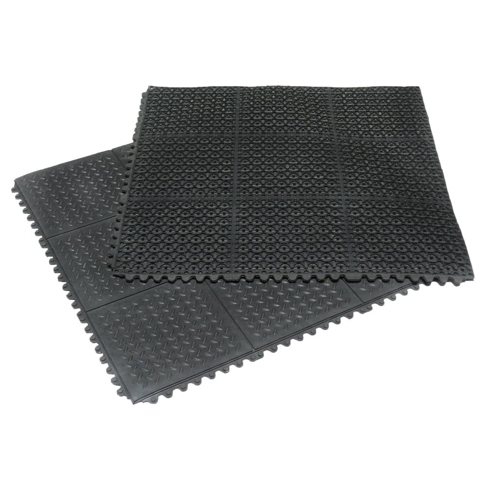 "Rubber-Cal ""Revolution Diamond-Plate"" Interlocking Rubber Floor - 5/8 x 36 x 36-inch Rubber Tiles - Black"