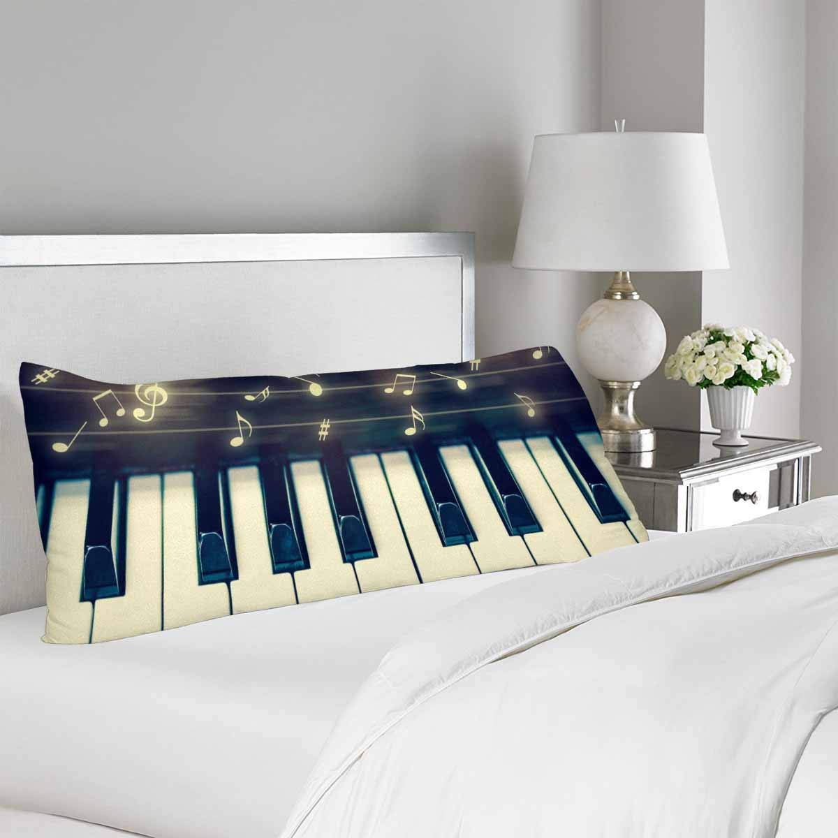 GCKG Keyboard of Piano with Music Notes Musical Instrument Pillow Covers Pillowcase 20x60 inches, Body Pillow Case Protector - image 1 of 2