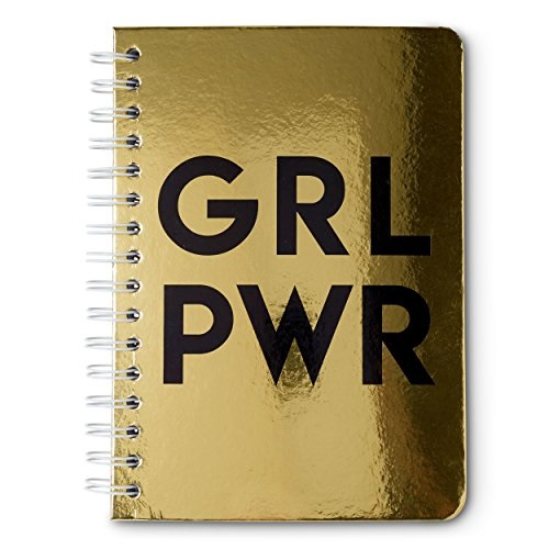 girl power metallic hardcover spiral notebook, gold grl pwr
