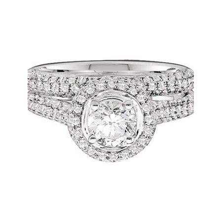 14kt Yellow Gold Womens Round Diamond Bridal Wedding Engagement Ring Band Set 1-1/4 Cttw - image 1 de 1