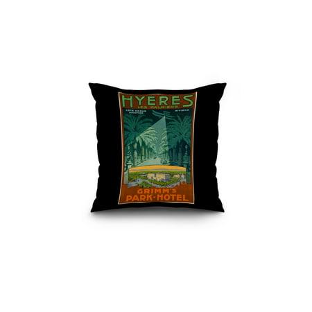 Hyeres   Grimms Park   Hotel Vintage Poster Switzerland C  1910  16X16 Spun Polyester Pillow  Black Border