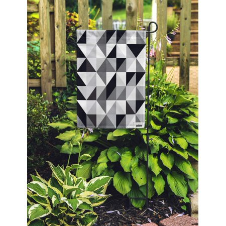 JSDART Gray Geometric Black and White Triangle Pattern Abstract Grey Diamond Garden Flag Decorative Flag House Banner 12x18 inch - image 2 of 2