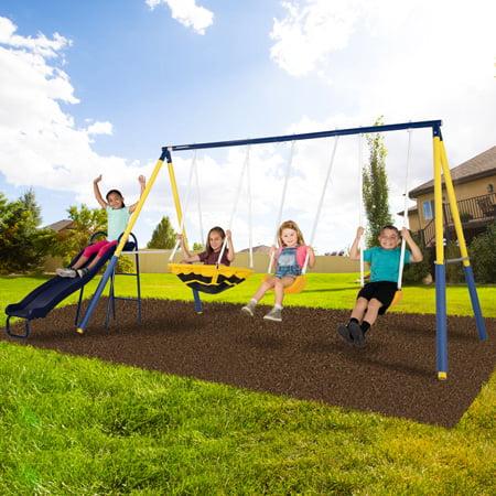 Sportspower Super Saucer Metal Swing Set with 2 Swings, Saucer Swing, Heavy Duty Slide