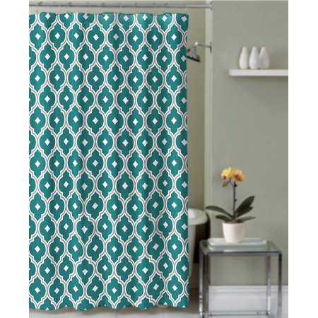 Shower Curtain Teal and Gray Quatrefoil Trellis Textured Fabric ...