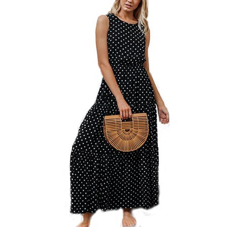 Women's Polka Dot Sleeveless Evening Party Maxi Dress