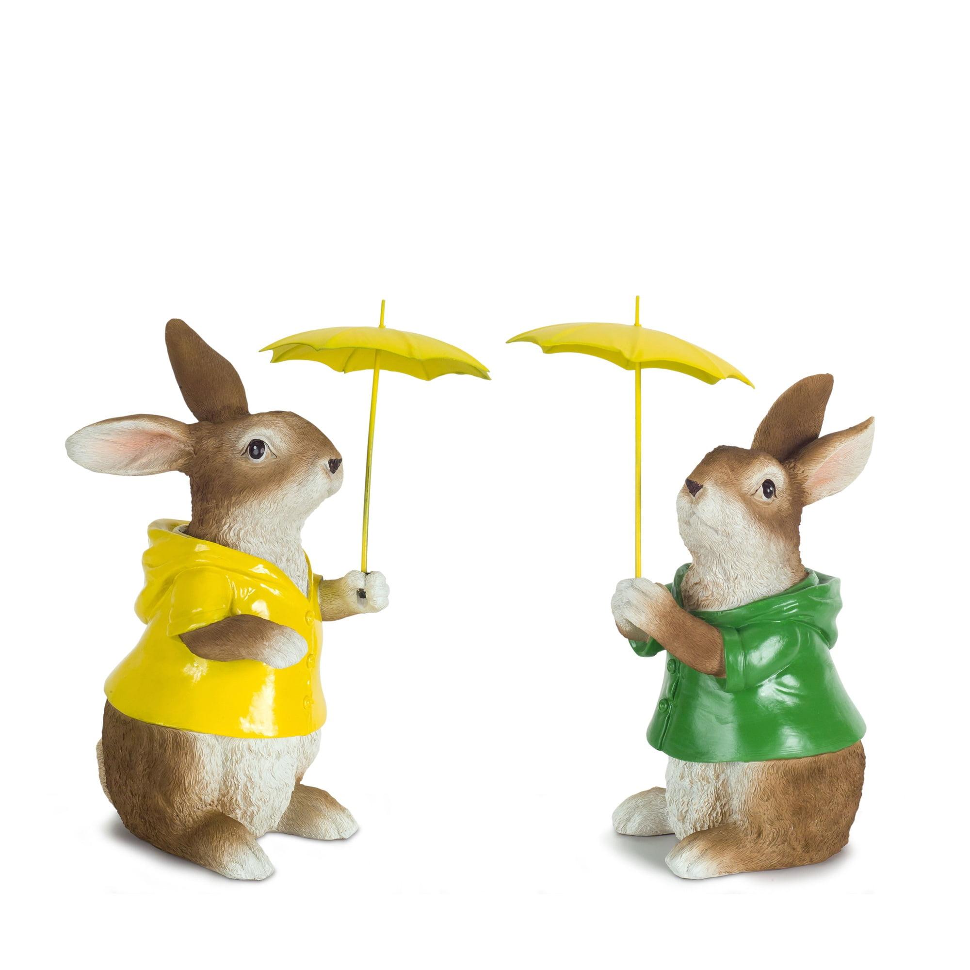 "Set of 4 Rabbits with Raincoats and Yellow Umbrella 8.25"""