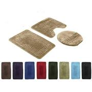 3 PCS BATHROOM SET RUG CONTOUR MAT TOILET LID COVER PLAIN SOLID COLOR BATHMATS NAVY BLUE